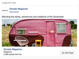 Dorado Magazine | Facebook Like Campaign - 12K impressions, 1.2K likes